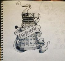 Dalek - Tattoo Style - Finished! by JenniInoue