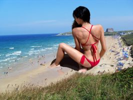 Red Bikini At The Beach by danforddan