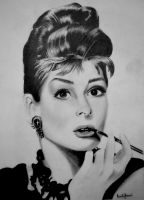 Audrey Hepburn Pencil Drawing by morningcoffeebreak