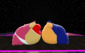 Amy and Sonic sumo's by SRX1995