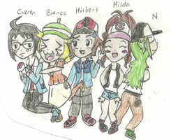 Pokemon Black and White Trainer Chibis by FizzyBubbles