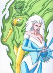 Jade Phoenix and Icemaiden by RobertMacQuarrie1
