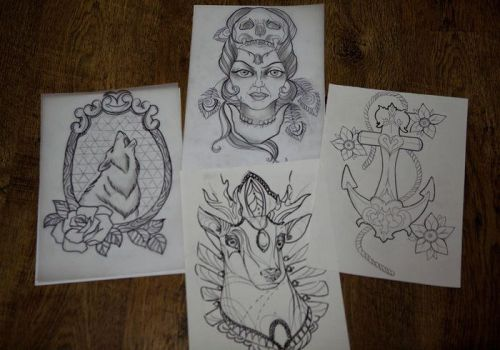 oldschool designs by evilmoon-tattoo
