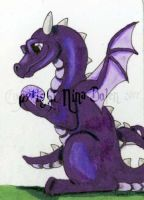 Birthstone Dragon February ATC by The-GoblinQueen