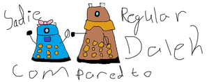 Sadie and Dalek comparing by Fgpinky123