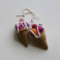 Ice Cream Cone Earrings by slumbergirl