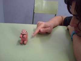 Minecraft pig render on a table. by Duning
