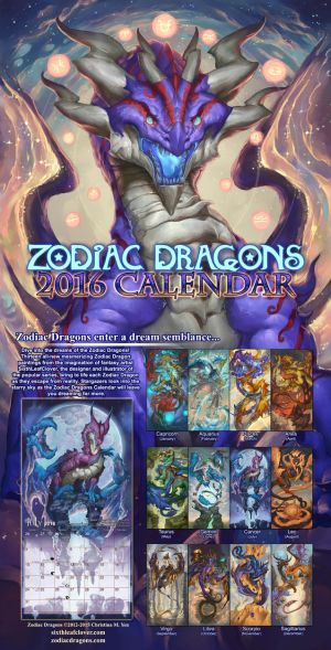 2016 Zodiac Dragons Calendar by The-SixthLeafClover