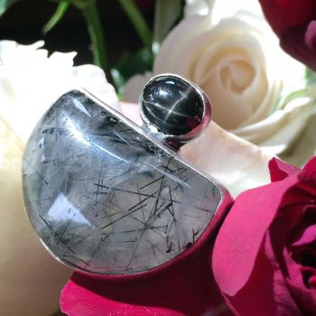 Tourmalited Quartz and Black Star Sapphire Ring by MoonLitCreations