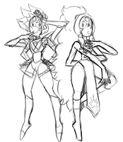 Boulder Opal and Opal. (Fast doodle) by AccursedAsche