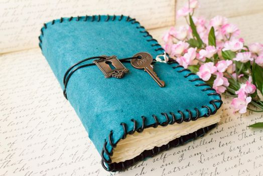 Teal Suede Blank Book - Handmade by GoldCoinComics