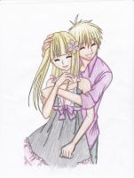 Blonde couple hugging by Lunamania