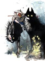 Princesse mononoke couleur by Faol-bigbadwolf