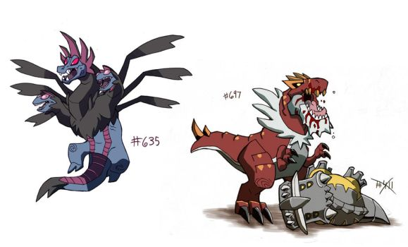 Hydreigon and Tyrantrum by chief-orc