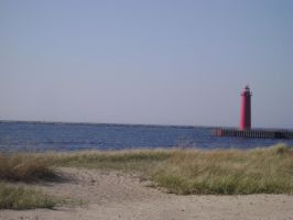 Light House on Lake Michigan 2 by MidknightStarr