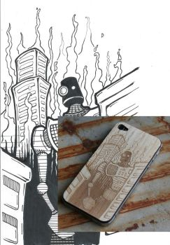 Robot Doom design for Wood iPhone Skin engraving by augiewan