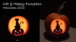 Halloween 2012: Cat and Happy Pumpkin by thamuria