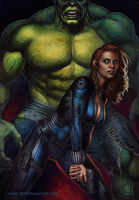 Backup (Black Widow / Hulk) by adam-brown