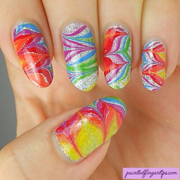Rainbow-water-marble-silver-glitter by Painted-Fingertips