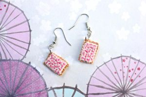 Kawaii Mini Amigurumi Cherry Pop-Tart Earrings by SkySinger92