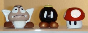 Mushroom, Bob-omb, and Goomba by BriteWingz