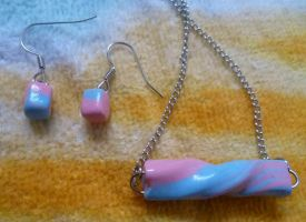 Cotton Candy- Jewelry Set by ZutaraMushroom