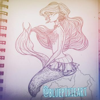 Throwback mermaid by BluePixieArt