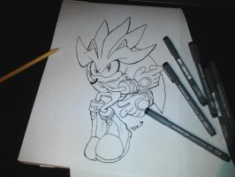 Ink LineArt ( Silver the hedgehog ) by Omiza-Zu