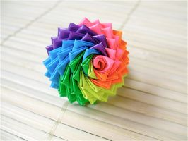 Rainbow Duct Tape Rose Ring by QuietMischief