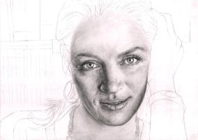 'Uma Thurman' WIP 35% by Pen-Tacular-Artist
