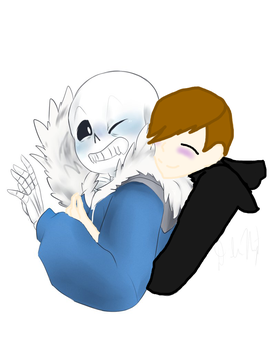 Sans and my undertale oc by Zazykat