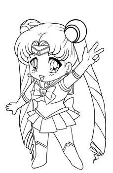 Lineart: Chibi Sailor Moon by The-PirateQueen