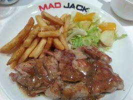 Grilled Chicken with Fries and Fruit Salad by nosugarjustanger