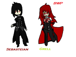Sebastion and Grell by bernetwolfamber1