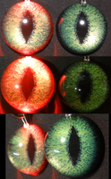 4cm 3D Green Fox Eyes Red Led by DreamVisionCreations