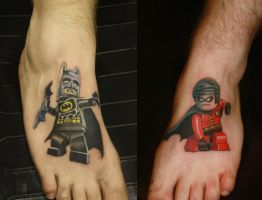 Lego batman n robin tattoos by Jinxiejinx by jinxiejinx13