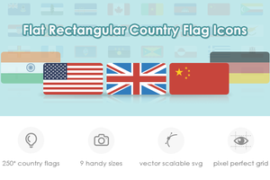 Flat Rectangular Country Flag Icon Set by customicondesign