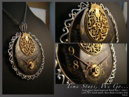 Steampunk pendant: Royal: Time stays, We go by azazel-is-burning