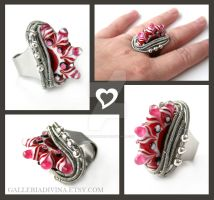 Pink Fire ring by Faeriedivine