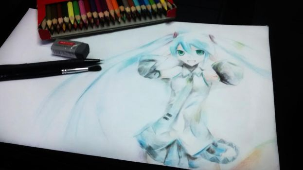 Hatsune Miku w ColorPencil by WaferArt01