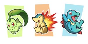 Johto starters by foxinsoxx