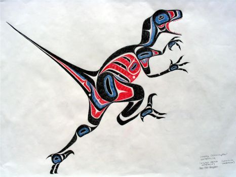 Leaping Velociraptor by axcho