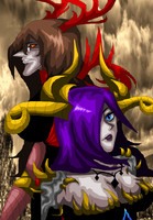 The demon Anna and her Lord the Demon King Jessica by AngelKiller666