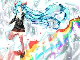 Miku Hatsune Road of Rainbow ~~ by ebifuu