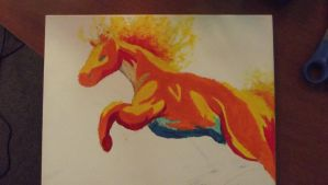 Flaming horse Fauvism Painting. by Golden-Freddy-1337