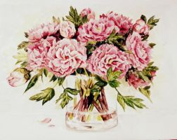 Peonies in vase by Vauhtipatti