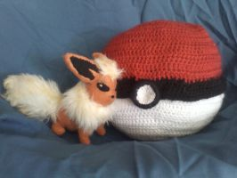 Flareon Next to Her Pokeball by KittyCowLexa