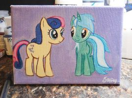 Lyra and Bonbon on Canvas :3 by stripeybelly