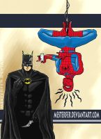 batman vs spiderman by Mesterfer