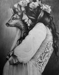Woman and Deer by AlexndraMirica